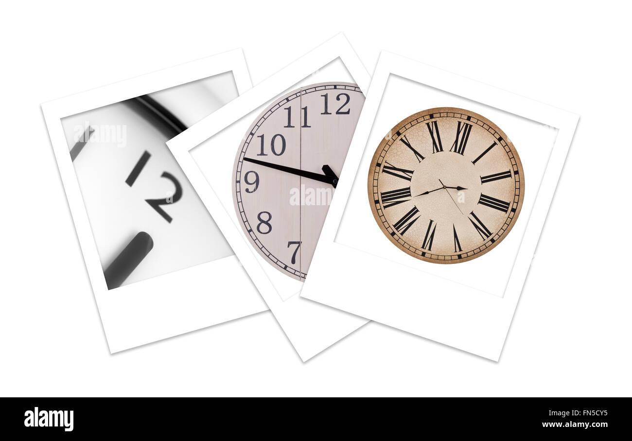 Three Polaroid Photos of Clocks - Stock Image