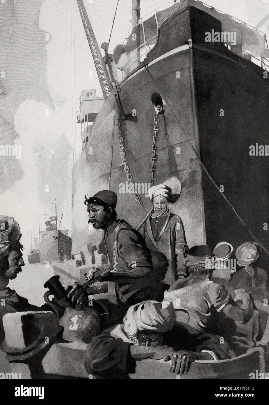 Coal passers of Port Said, Egypt, circa 1915 - Stock Image