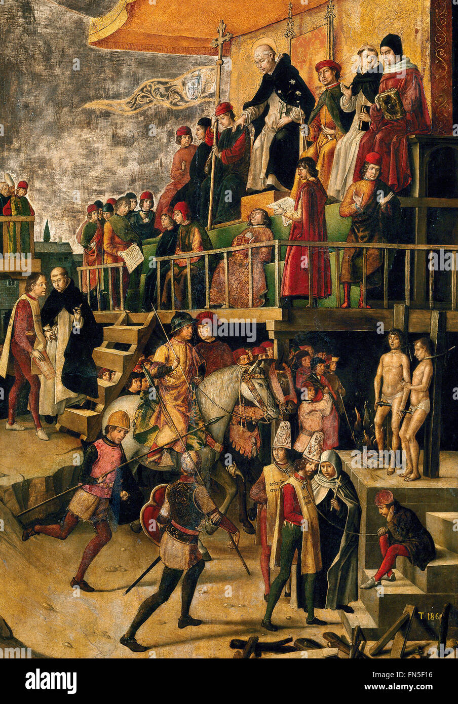 In this 15th-century depiction of the burning of Albigensians after an auto de fe, the condemned had been garroted - Stock Image