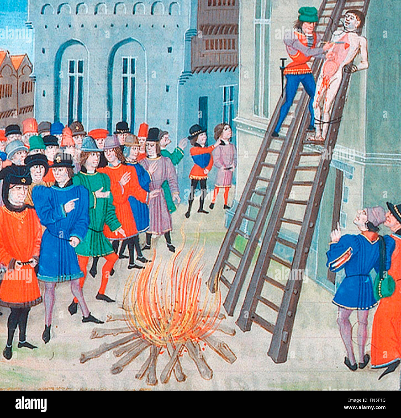 Illustration of the execution of Hugh the Younger Despenser, from a manuscript of Froissart  1470s Drawn and quartered - Stock Image