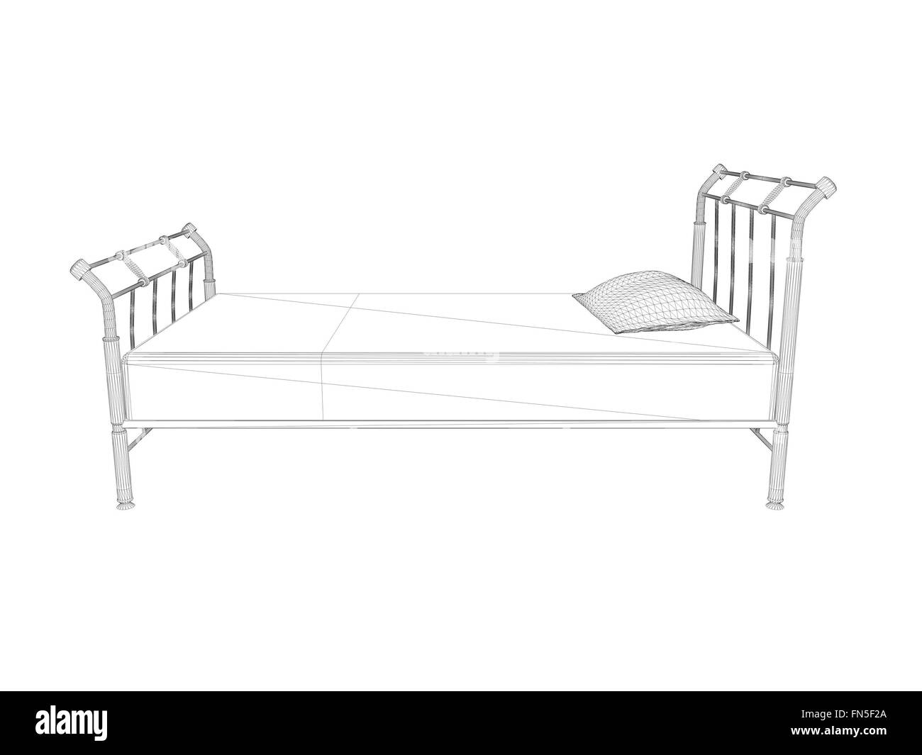 3d wireframe bed drawing illustration isolated on white background ...