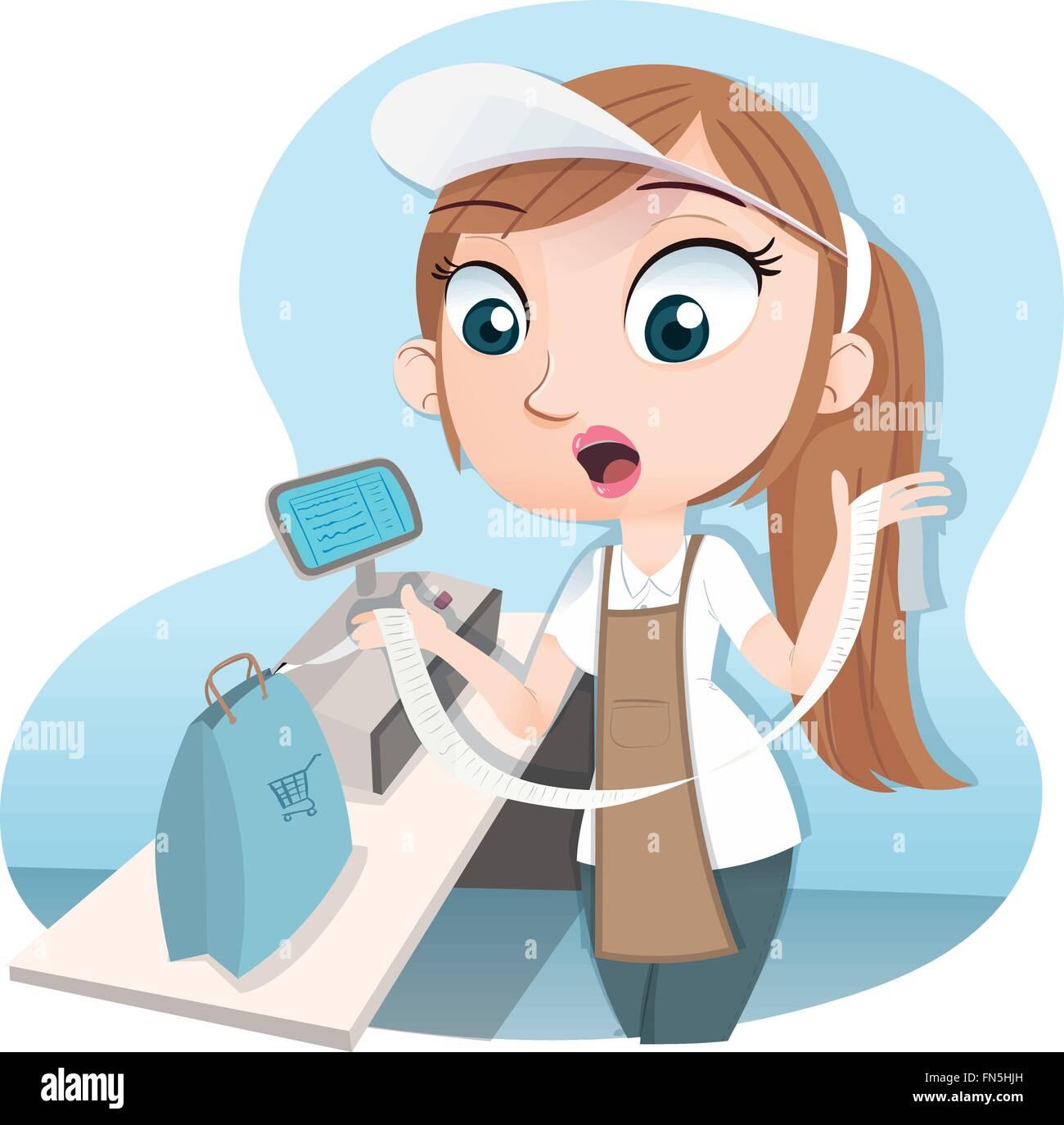 Cashier Cartoons: Cartoon Female Cashier Holding Long Receipt Stock Vector