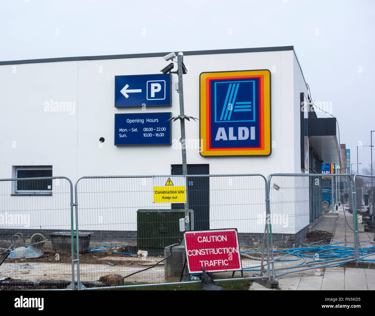 New Aldi supermarket under construction less than 100 metres from Asda store in Billingham, north east England Stock Photo