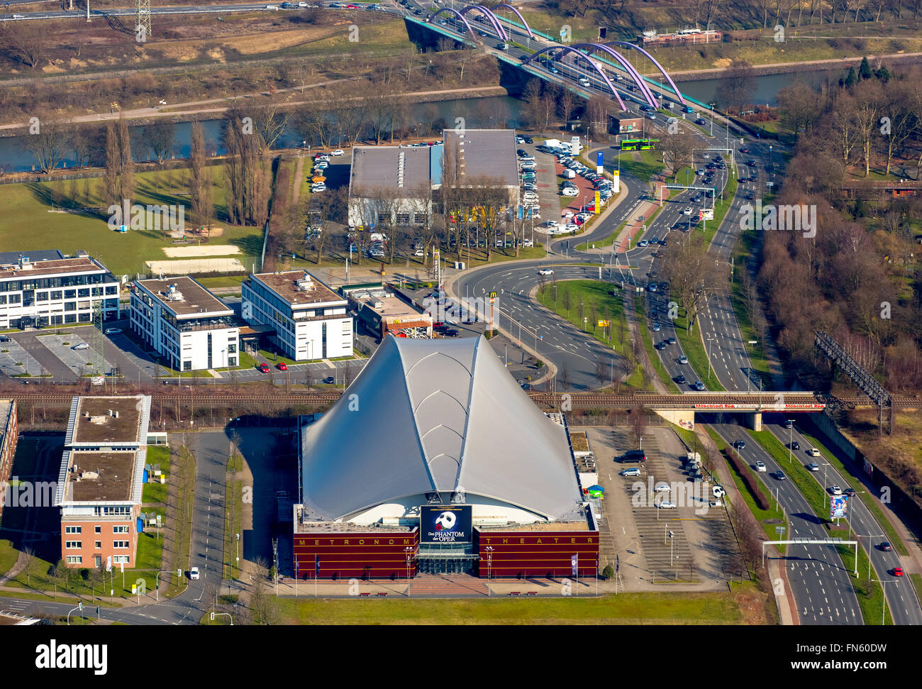 Aerial view, Metronome Theater at the Centro Oberhausen, Oberhausen, Stage company, Ruhr region, North Rhine Westphalia, - Stock Image