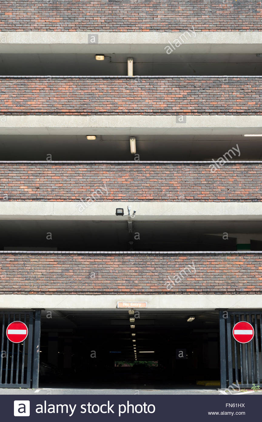 Looking at the exit and levels of multistory car park - Stock Image