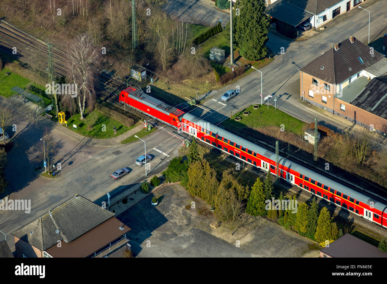 Aerial view, Empel Rees with railway line, Betuwelijn, Betuweroute, Rees, Lower Rhine region, North Rhine Westphalia, - Stock Image