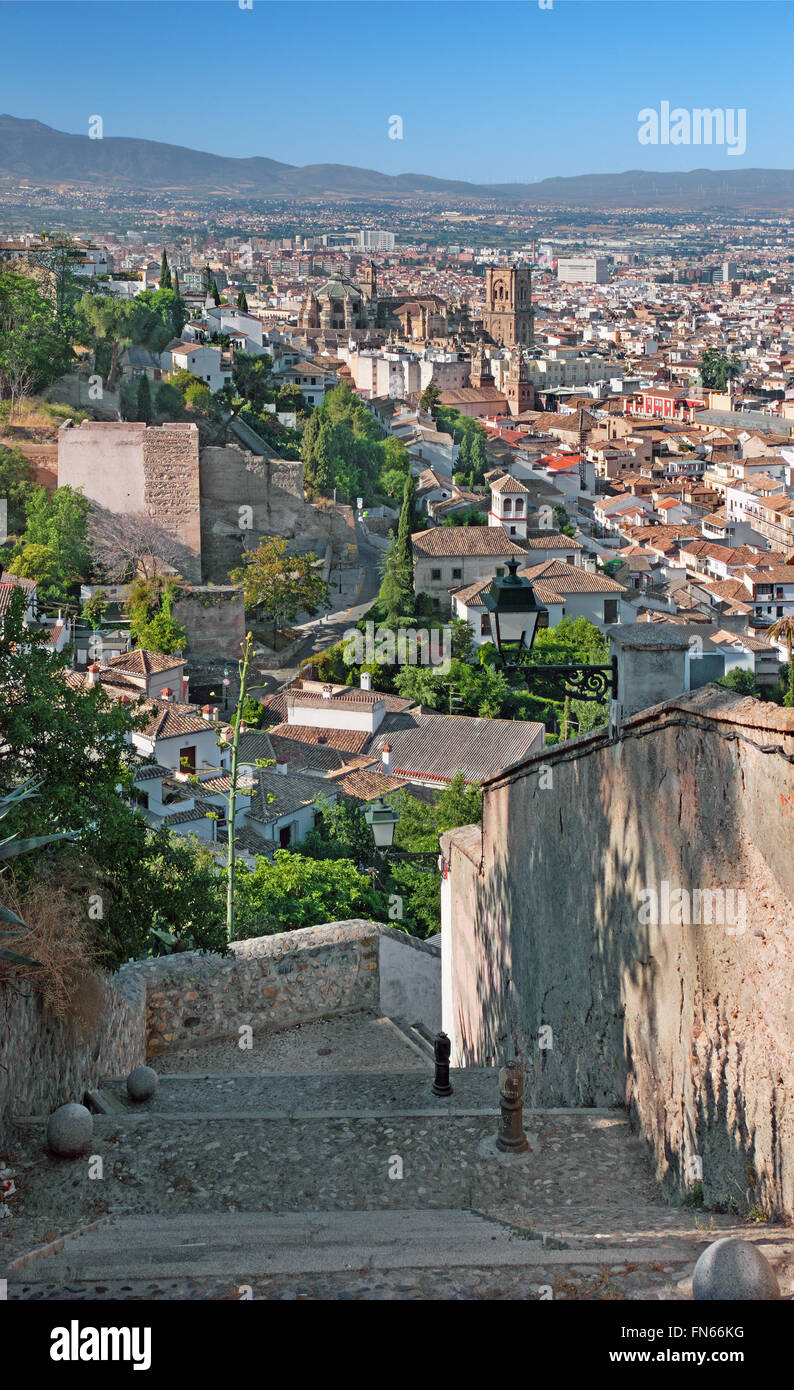 Granada - The outlook over the town with the Cathedral in morning. - Stock Image