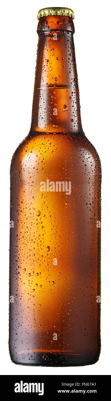 Cold bottle of beer with condensed water drops on it. File contains clipping paths. - Stock Image