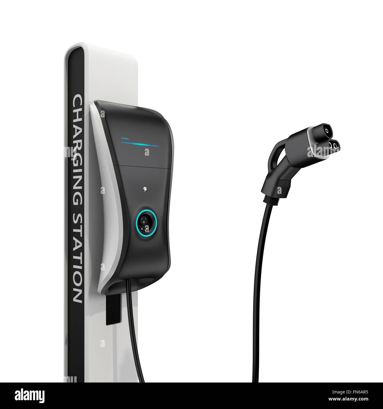 Electric vehicle charging station for public usage. Clipping path available. - Stock Image