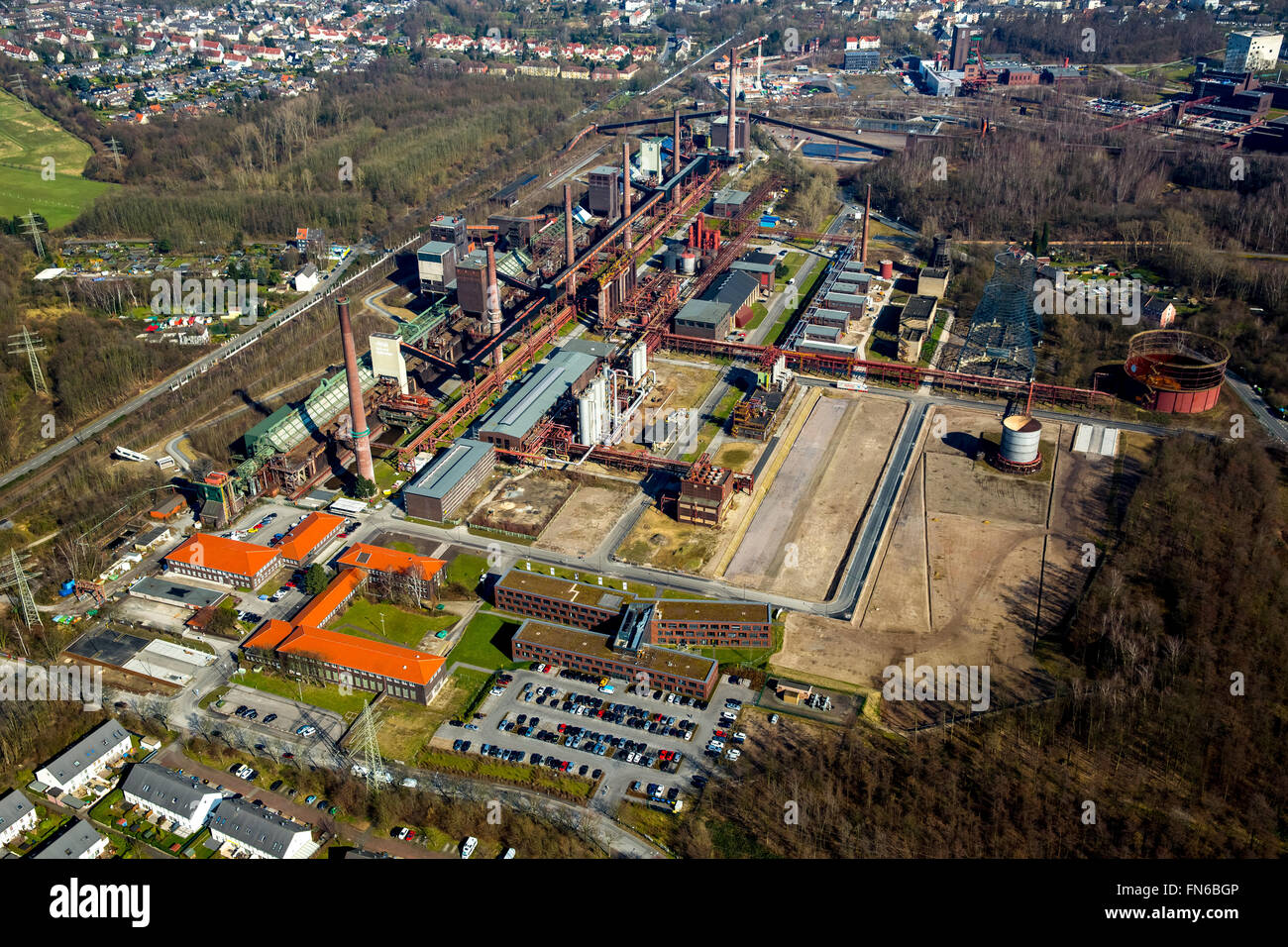 Aerial view, Zollverein Essen, former Zollverein, World Heritage Site, Essen, Ruhr, North Rhine Westphalia, Germany, - Stock Image