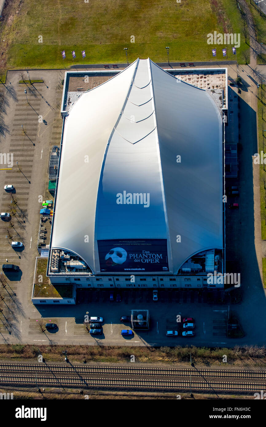 Aerial view, Metronome Theater at the Centro Oberhausen, Oberhausen, Ruhr area, North Rhine Westphalia, Germany, - Stock Image