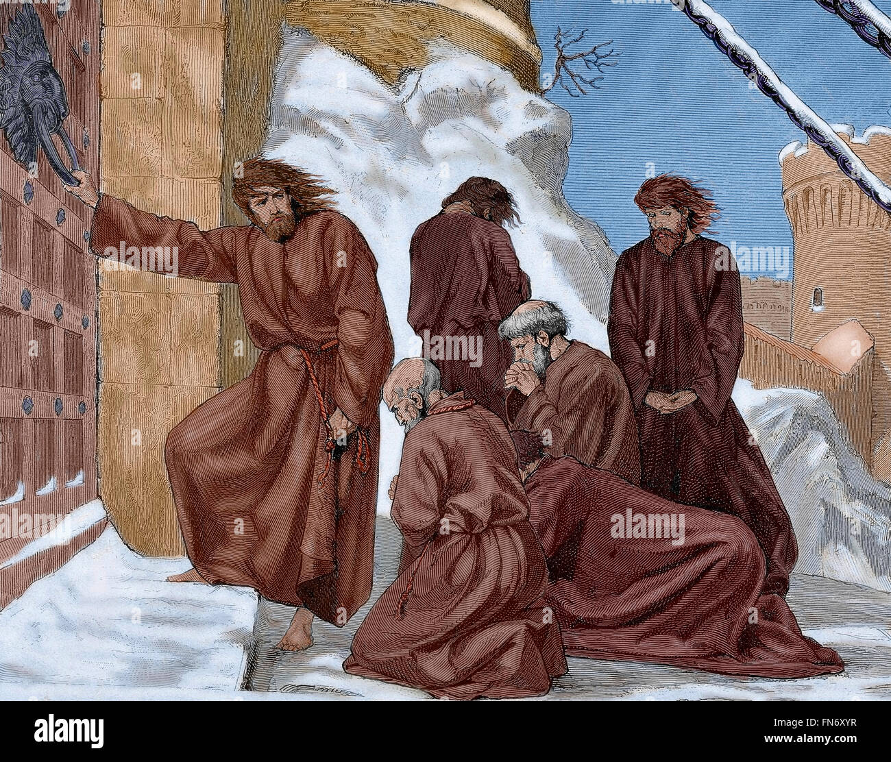 Henry IV (1050-1106). Holy Roman emperor. Henry IV at the entrance of the castle of Canossa (1077) to obtain the - Stock Image