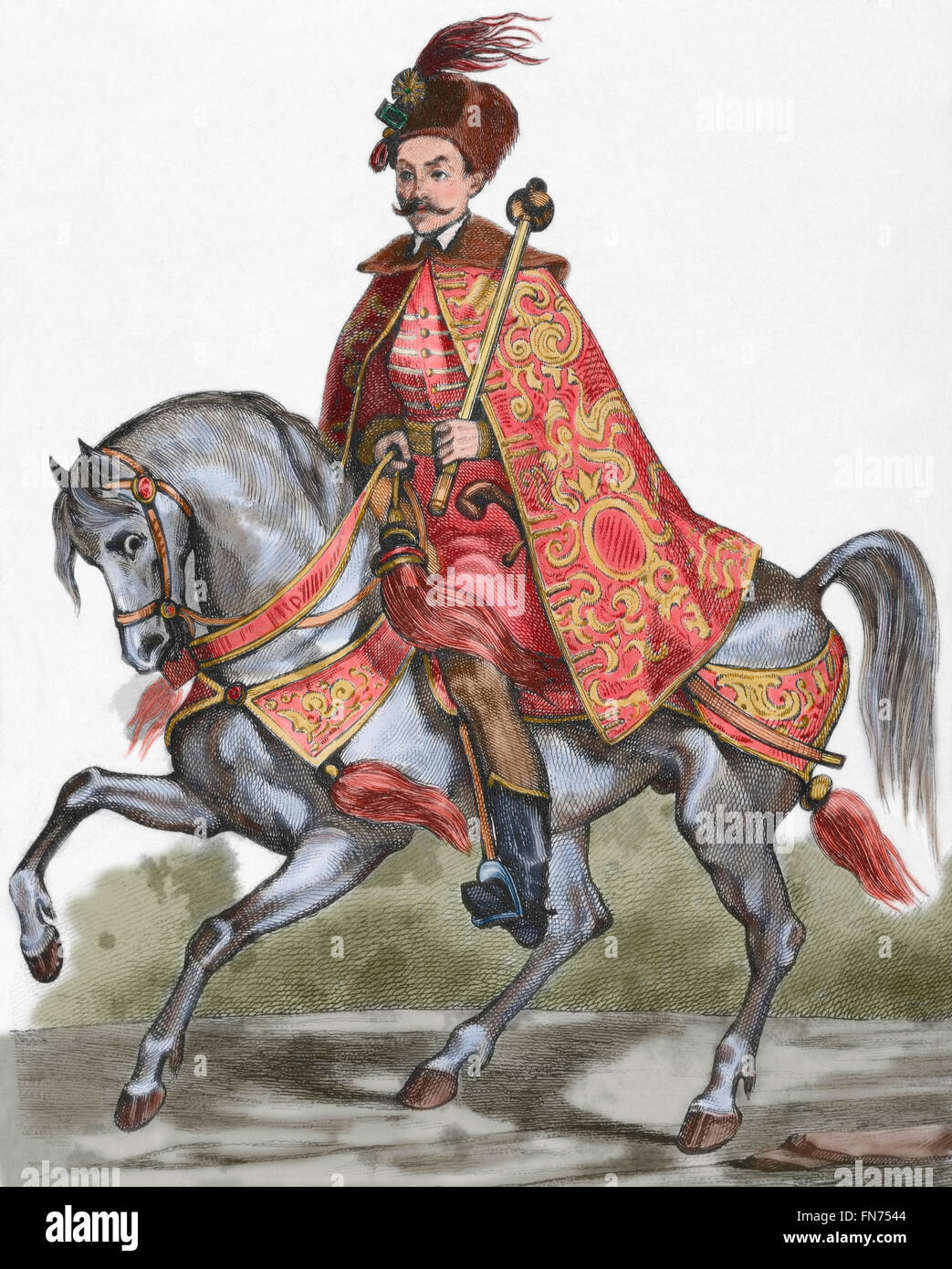 Aleksey Mikhailovich (1629-1676). Tsar of Russia (1645-1676). Equestrian portrait. Engraving. Colored. Stock Photo