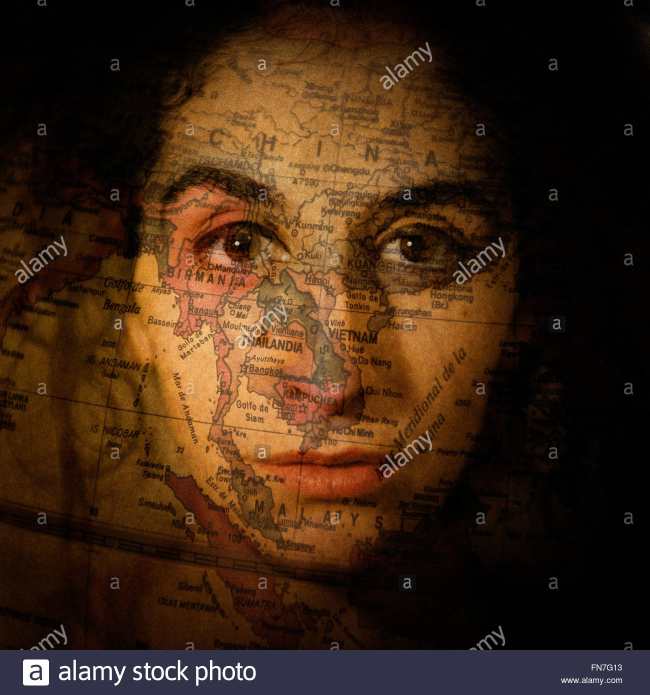 A Woman Face With A World Map Over Her Face Stock Photo Alamy