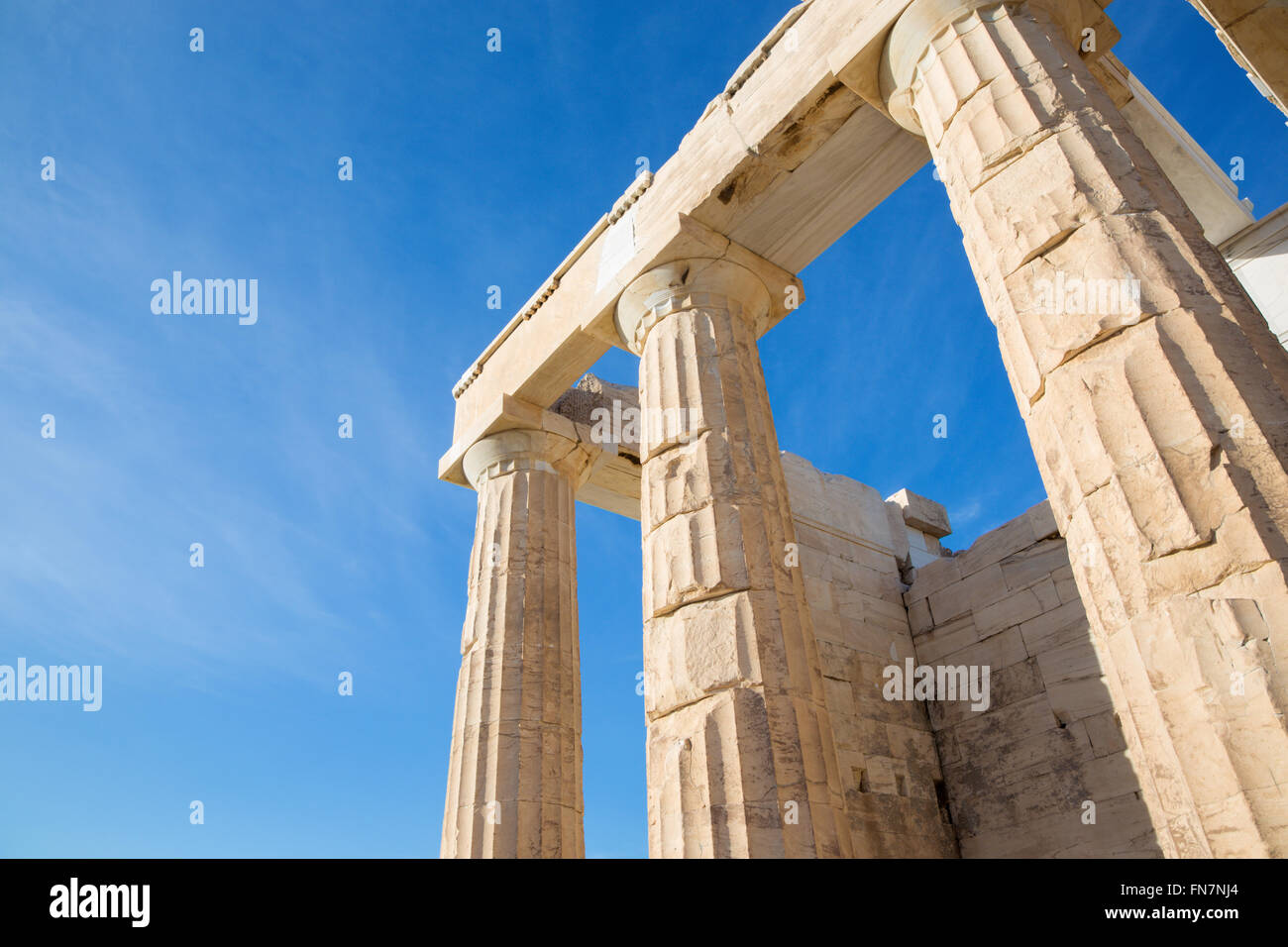 Athens - The colums of Propylaea on Acropolis with the doric capitals. - Stock Image