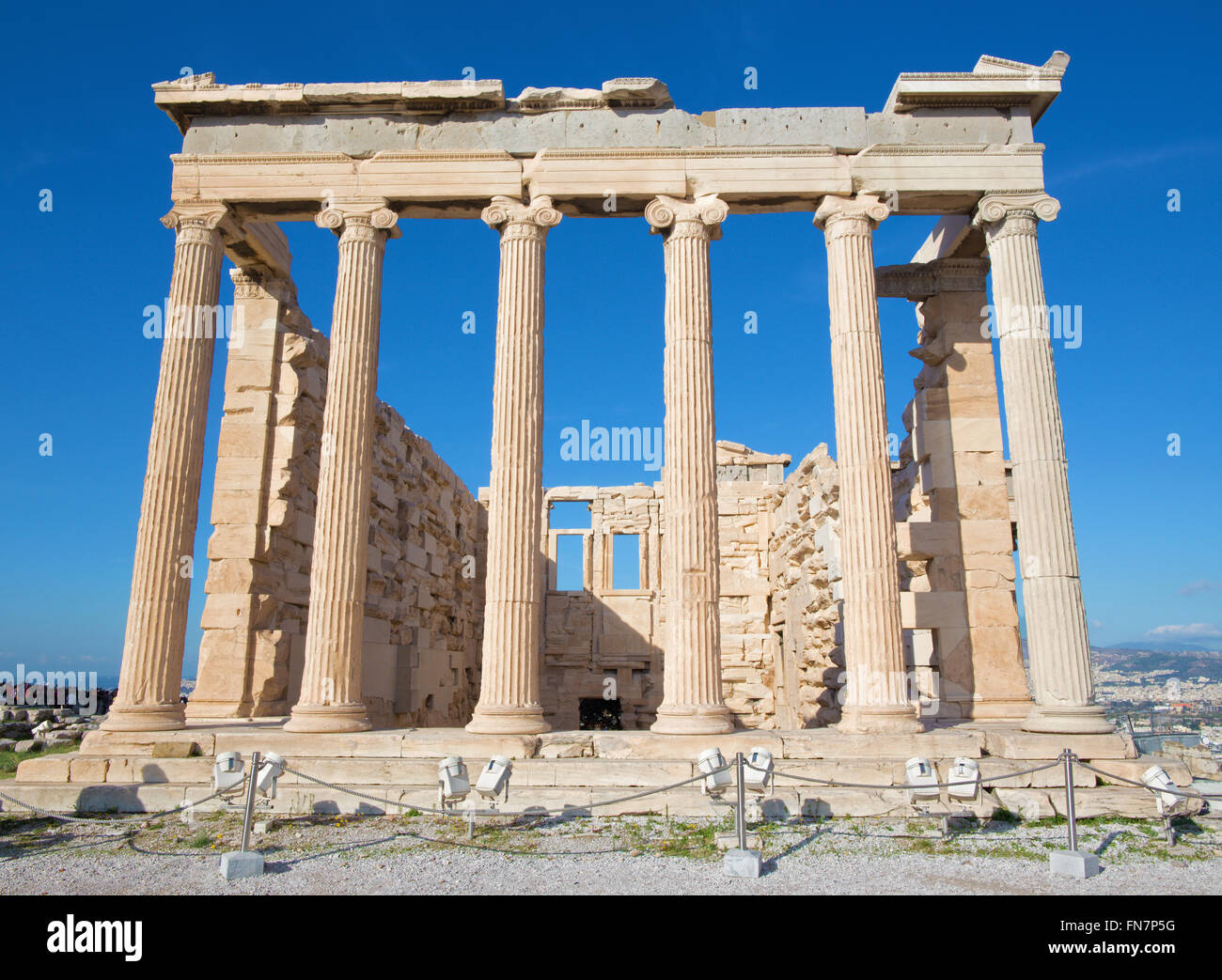 Athens - The Erechtheion on Acropolis in morning light. Stock Photo