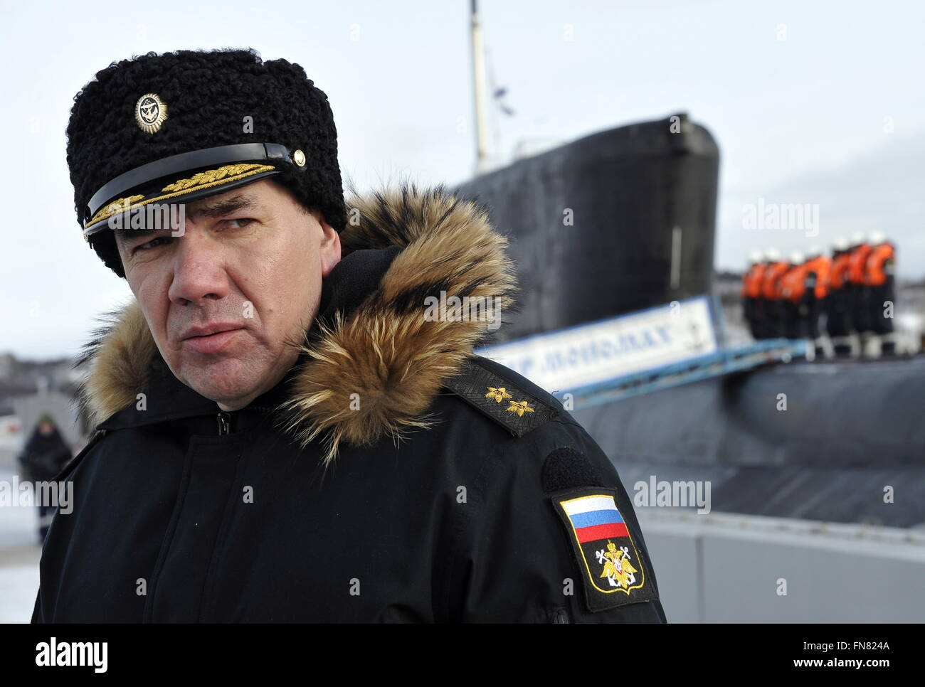 Murmansk Region, Russia. 14th Mar, 2016. Vice Admiral Alexander Moiseyev, Russian Northern Fleet Submarine Forces, - Stock Image