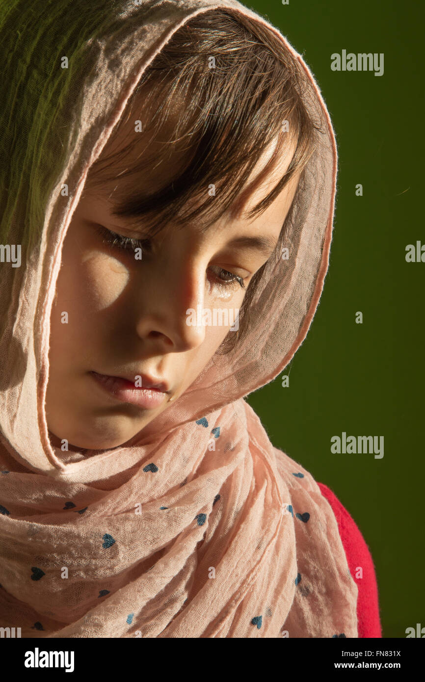 The cry of young girl - portrait - Stock Image