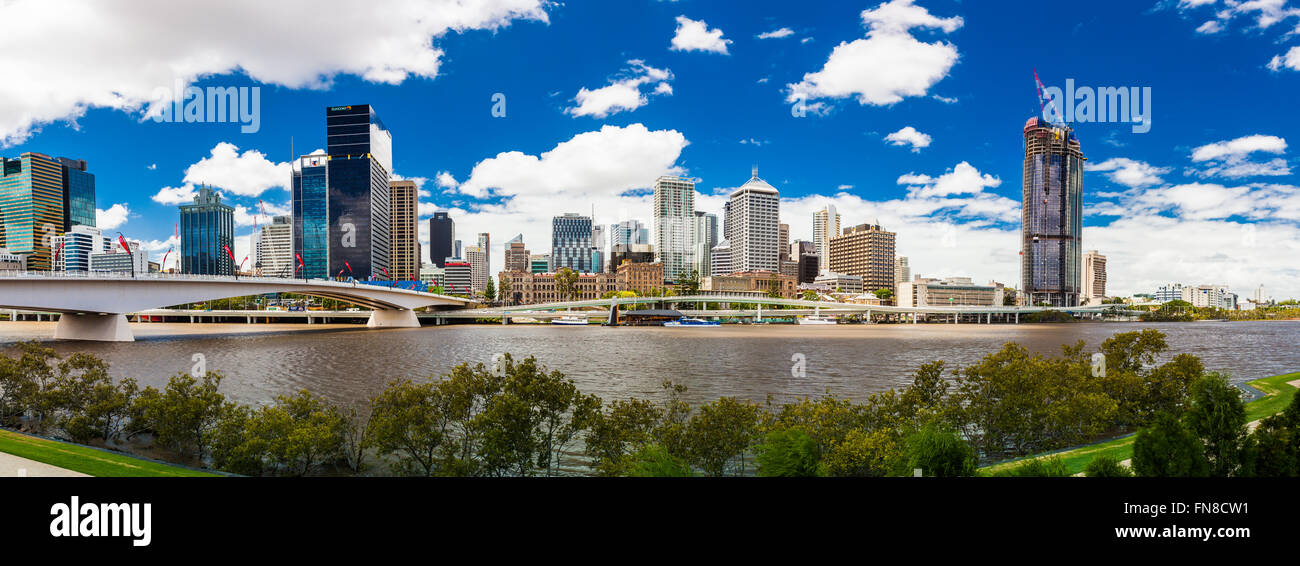 BRISBANE, AUSTRALIA FEB 12 2016: Panoramic view of Brisbane from South Bank over the river. Brisbane is the capital - Stock Image