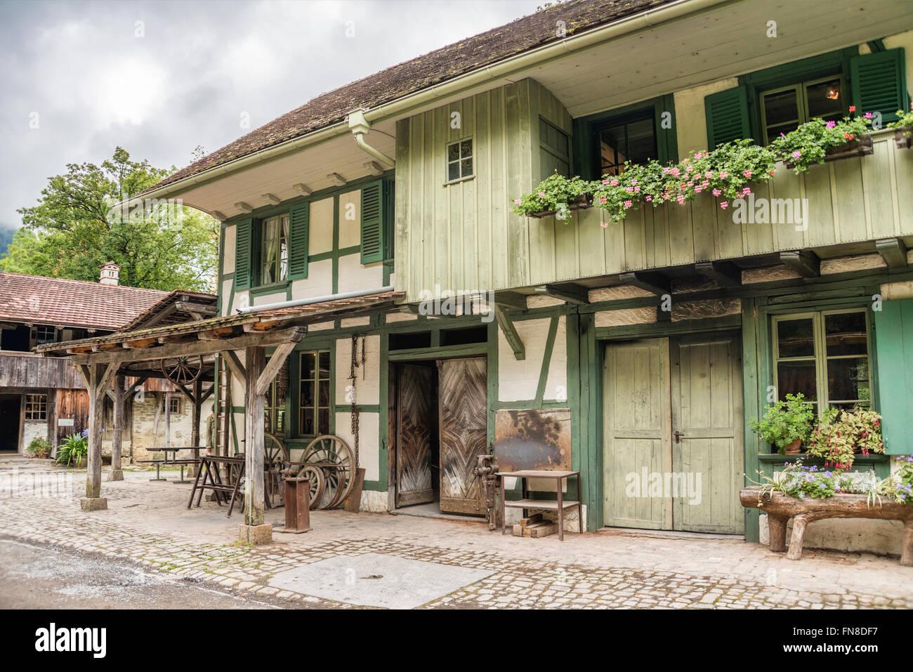 Historical blacksmith workshop, Open Air Museum Ballenberg, Bern, Switzerland. | Historische Schmiedewerkstatt, - Stock Image