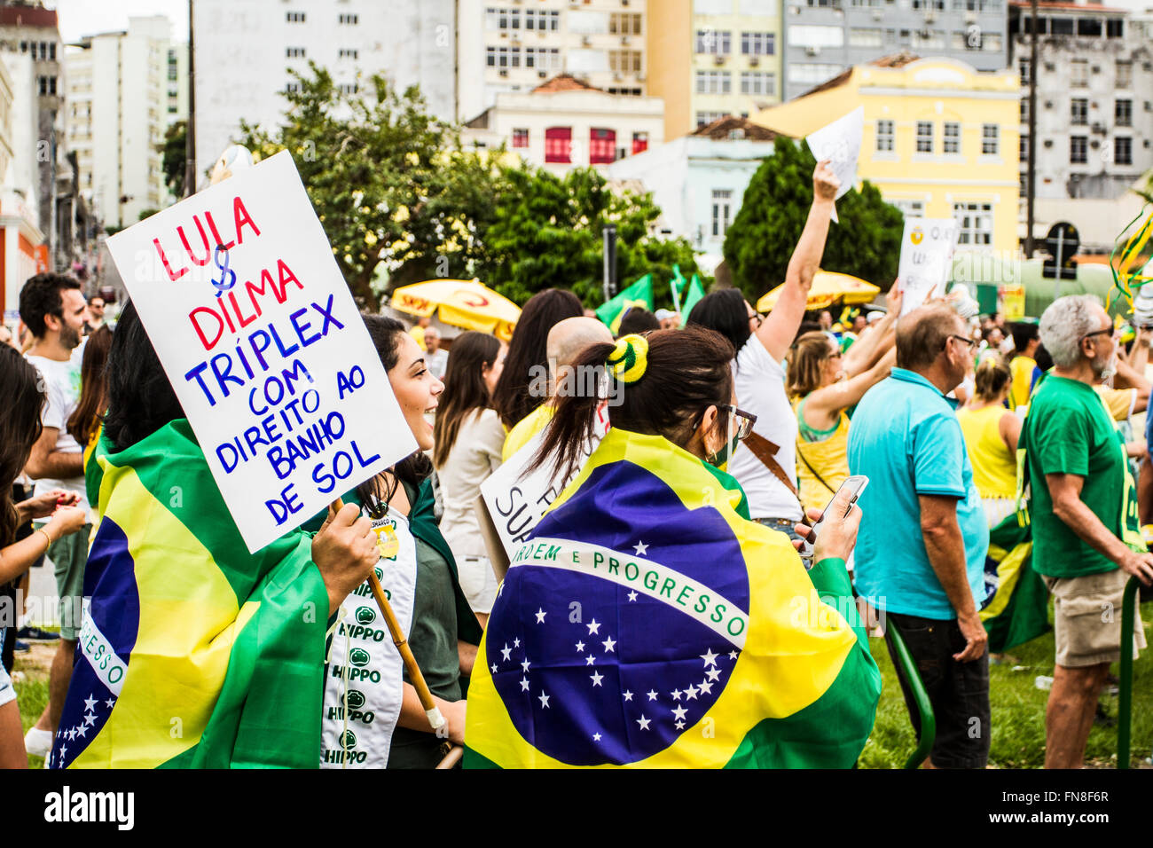 Manifestation for the impeachment of president Dilma Rousseff on March 13th 2016. Florianopolis, Santa Catarina, - Stock Image