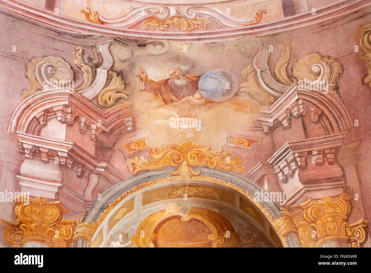 BANSKA STIAVNICA, SLOVAKIA - FEBRUARY 20, 2015: The God the Creator fresco in the middle church of baroque calvary. - Stock Image