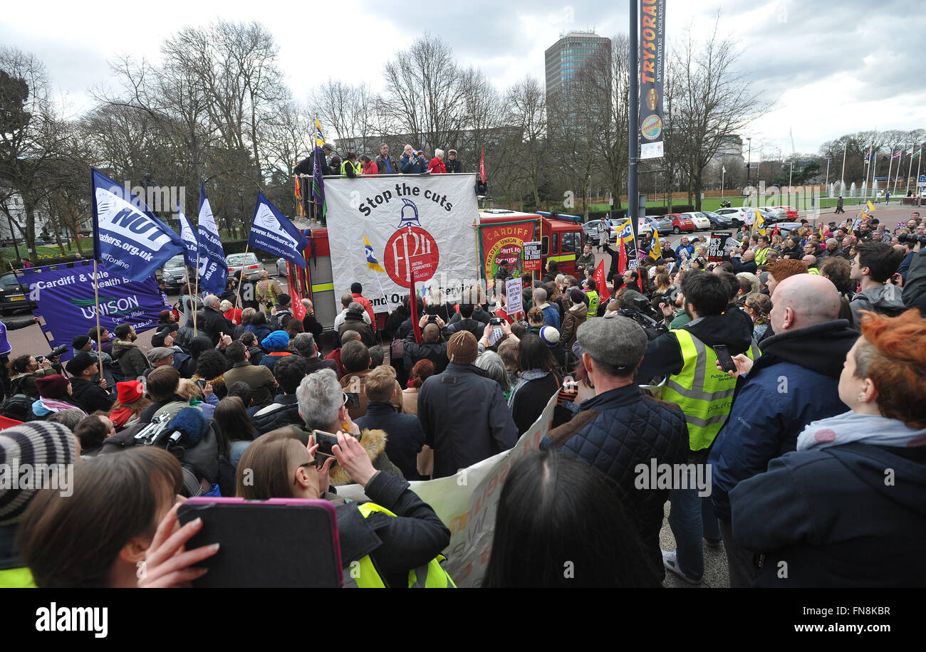 Trade Union Bill Protest, outside the National Museum of Wales, Cardiff. UK Labour leader Jeremy Corbyn was present. - Stock Image