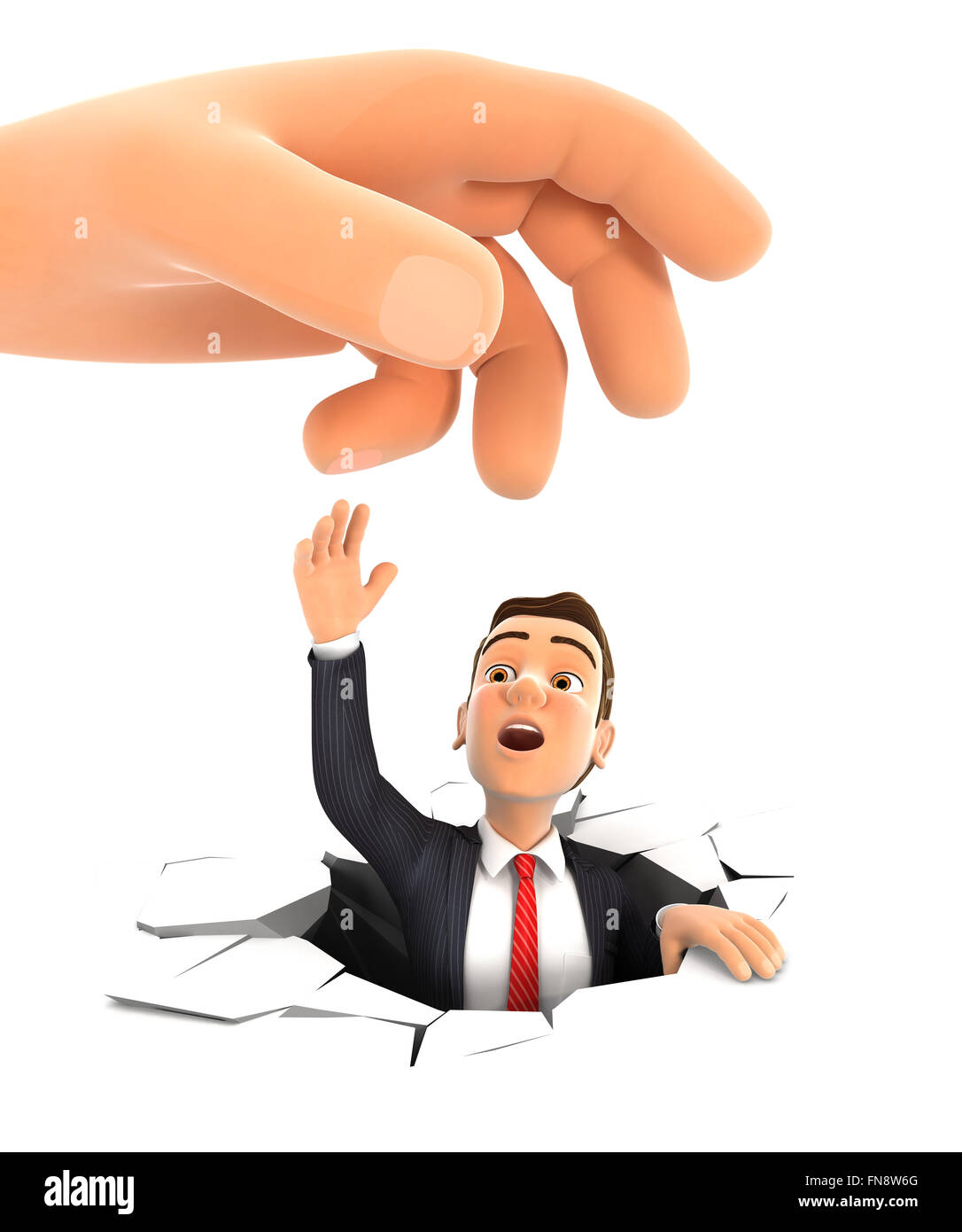 3d big hand helping businessman, isolated white background Stock Photo