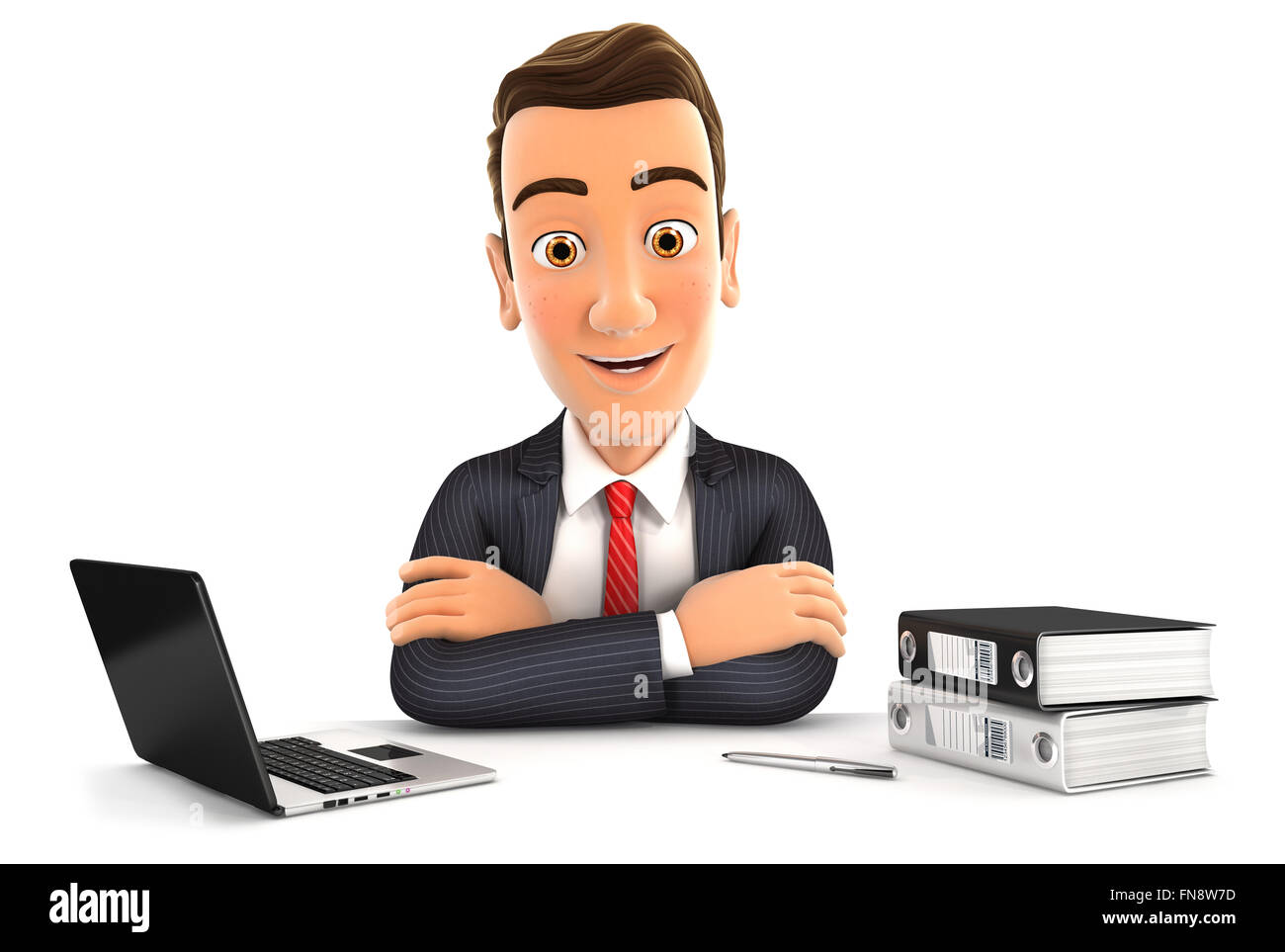 3d businessman sitting at desk with laptop and ring binder, isolated white background Stock Photo