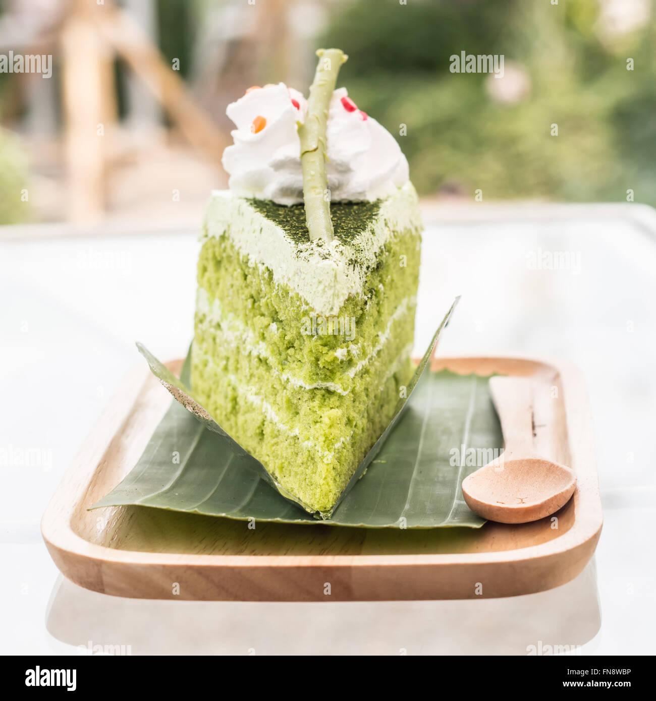 Green tea cake - Stock Image