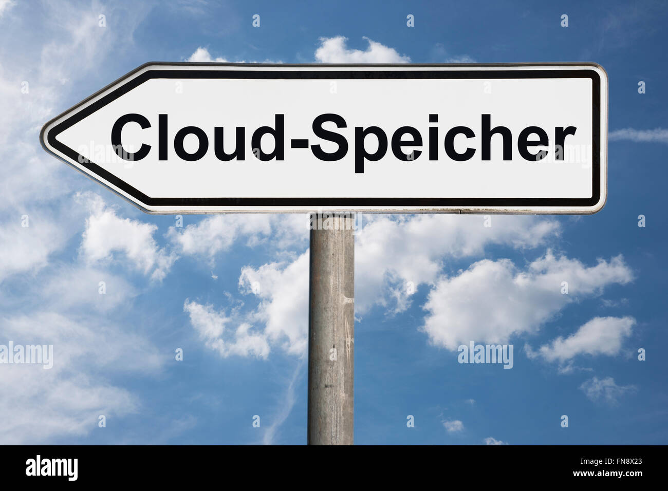 Detail photo of a signpost with the German title Cloud-Speicher (Cloud Storage) - Stock Image
