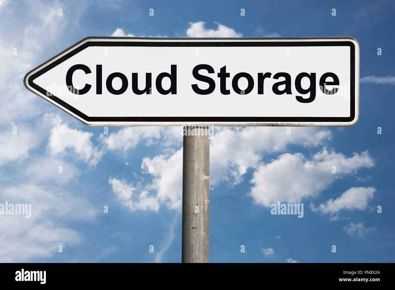 Detail photo of a signpost with the title Cloud Storage - Stock Image