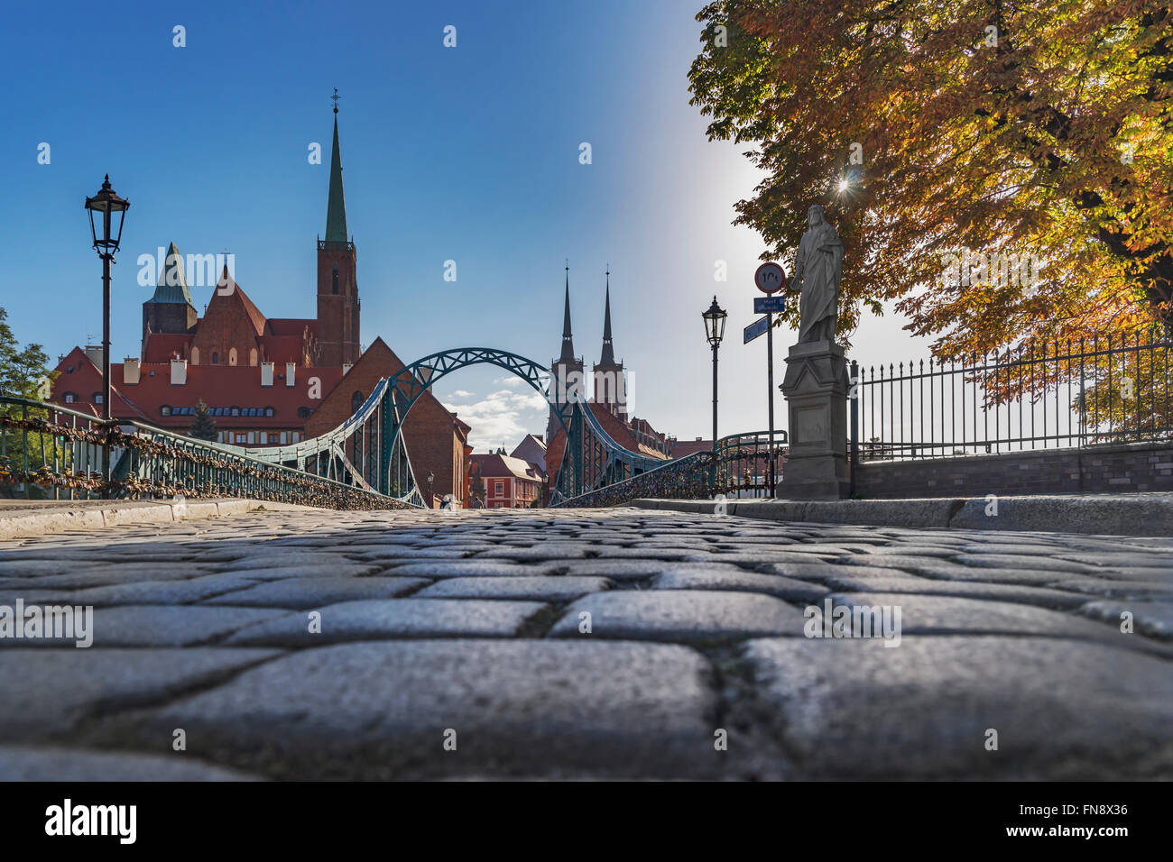 The Cathedral Bridge connects the Sand Island with the Cathedral Island, Wroclaw, Lower Silesia Voivodeship, Poland, - Stock Image