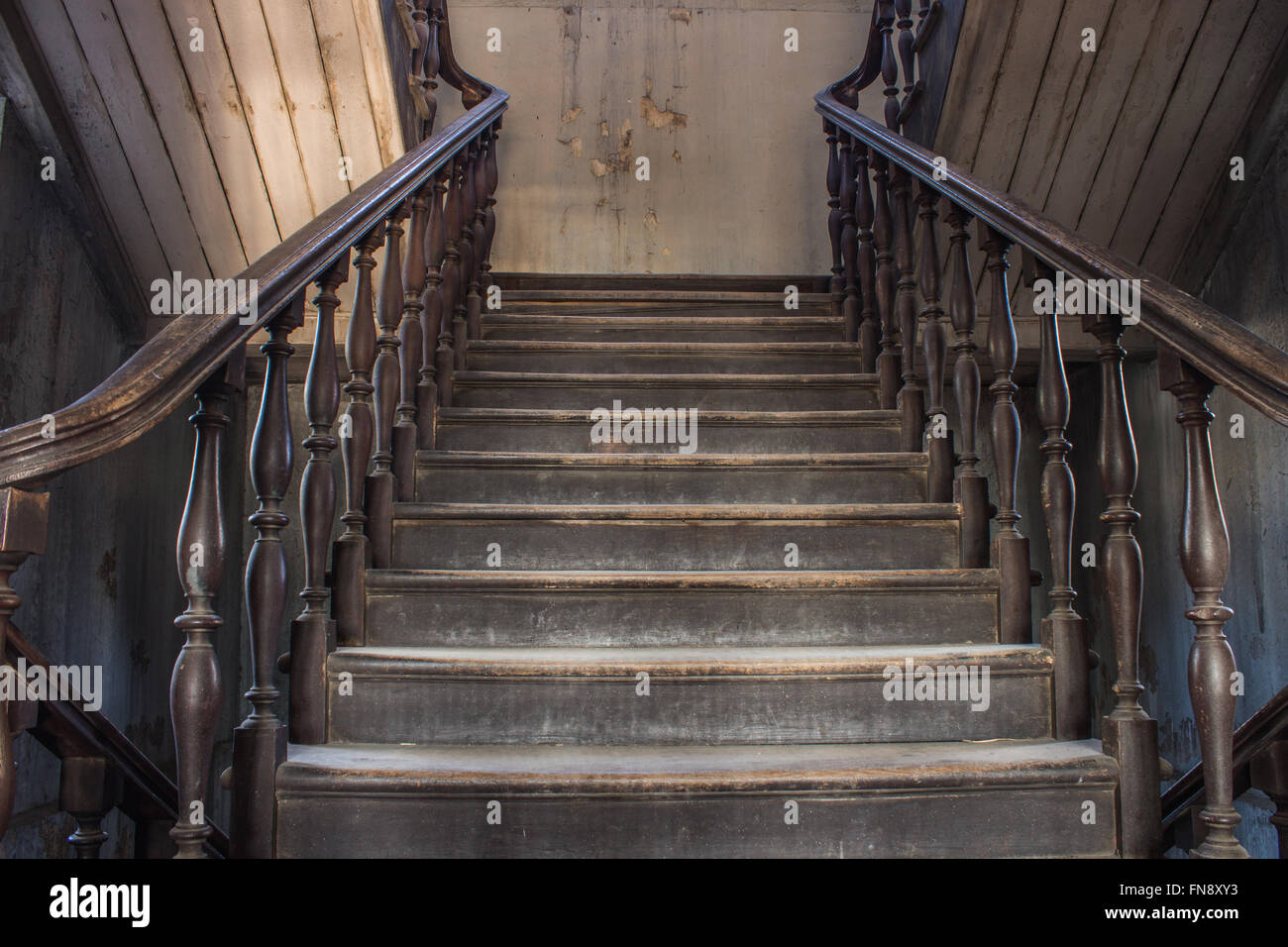 Merveilleux Old Wooden Staircase Railing. Handrails, Balusters And Stair Old Wooden  Stairs   Stock Image