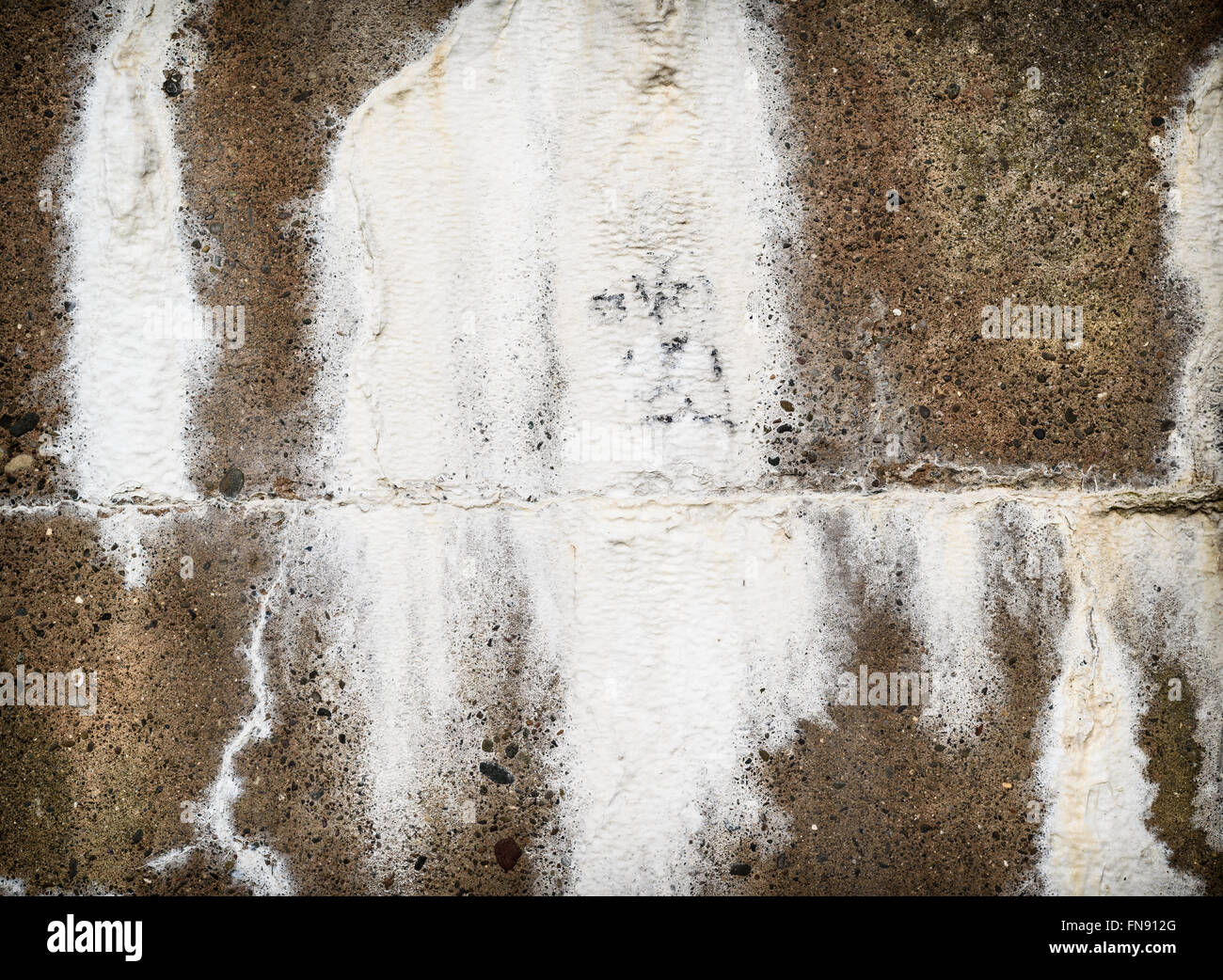 Concrete wall with efflorescence salt seepage. - Stock Image