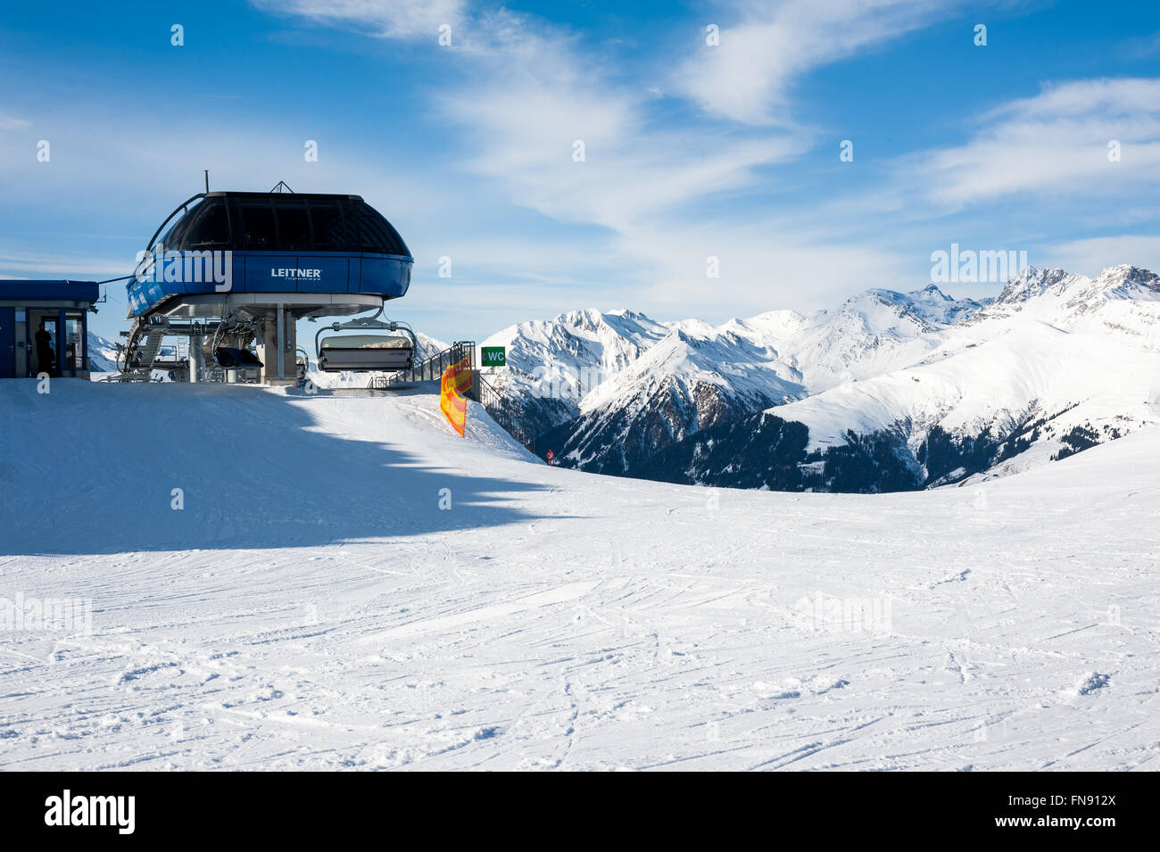MAYRHOFEN, AUSTRIA :  MARCH 22, 2016:View of  Mayrhofen Ski resort area with ski lifts, pistes and skiers. Zillertal - Stock Image