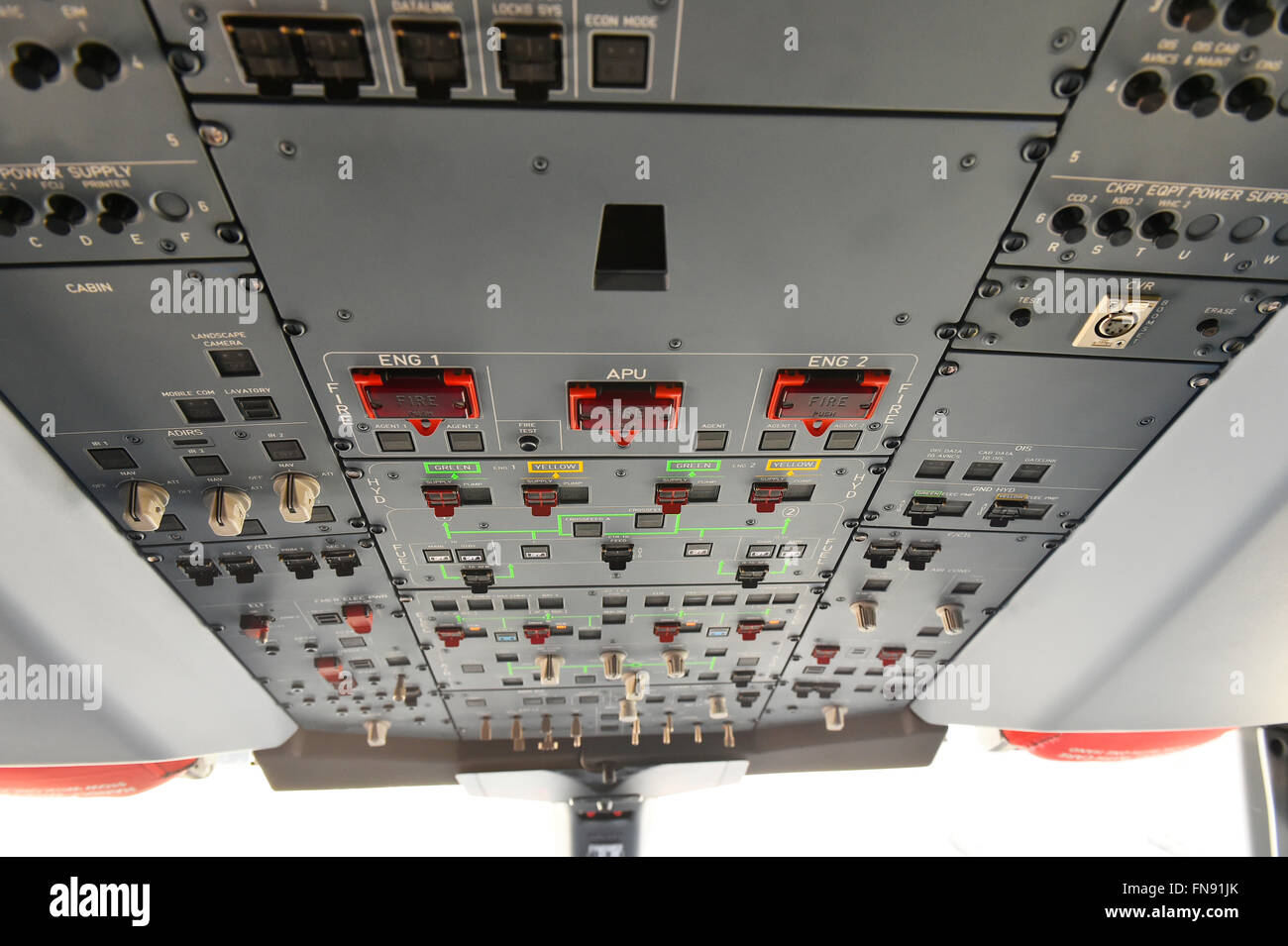 Fire Switch Stock Photos Images Alamy 07 Jk Fuse Box Cockpit Overhead Panel Door Look Radio Transponder