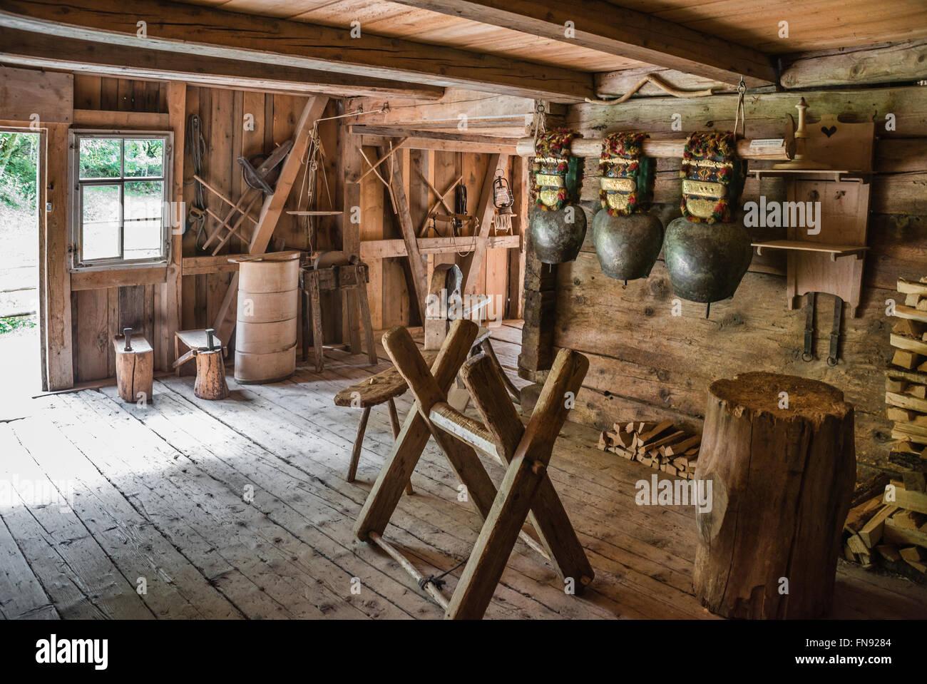 Historical farmer workshop, Open Air Museum Ballenberg, Bern, Switzerland. | Historische Werkstatt, Freilichtmuseum - Stock Image