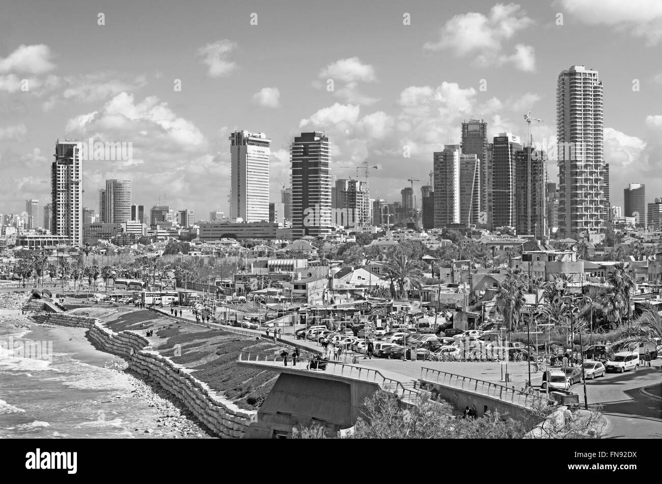 TEL AVIV, ISRAEL - MARCH 2, 2015: The coast and waterfront of Tel Aviv - Stock Image