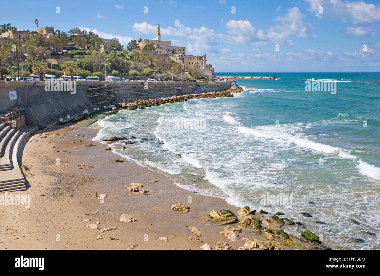 TEL AVIV, ISRAEL - MARCH 2, 2015: The waterfront and beach under old Jaffa in Tel Aviv - Stock Image