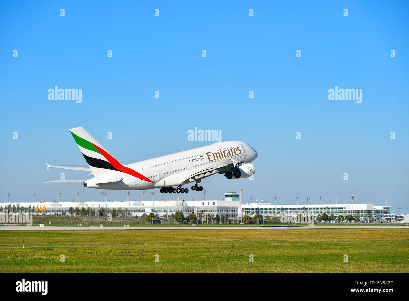 airbus, a 380, A380-800, A 380 - 800, 380, 800, emirates, take of, off, start, MUC, EDDM, Airport, Munich, Erding, - Stock Image