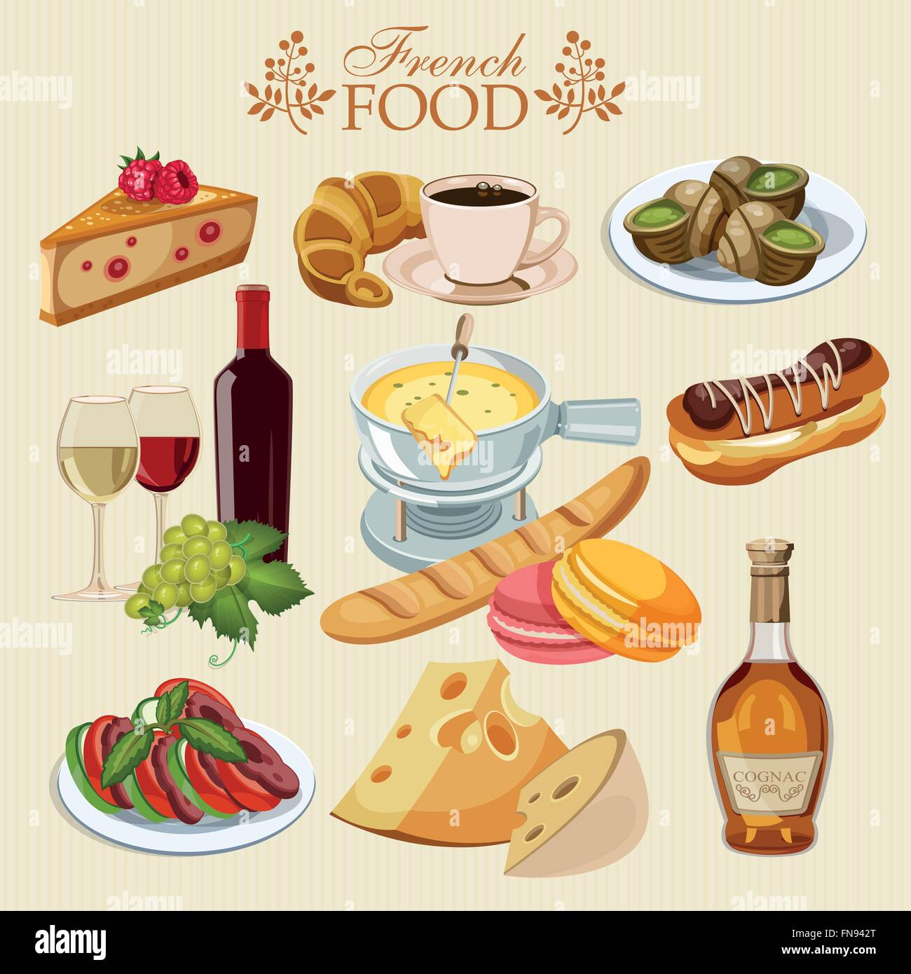 vector set of french cuisine national food of france icons for rh alamy com cartoon french food clipart cartoon french food clipart