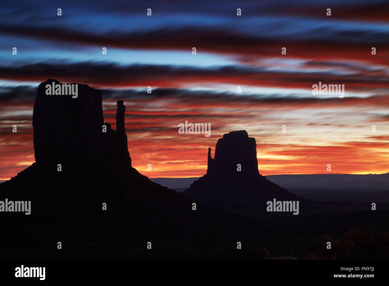 Monument valley at sunrise, Arizona, USA - Stock Image