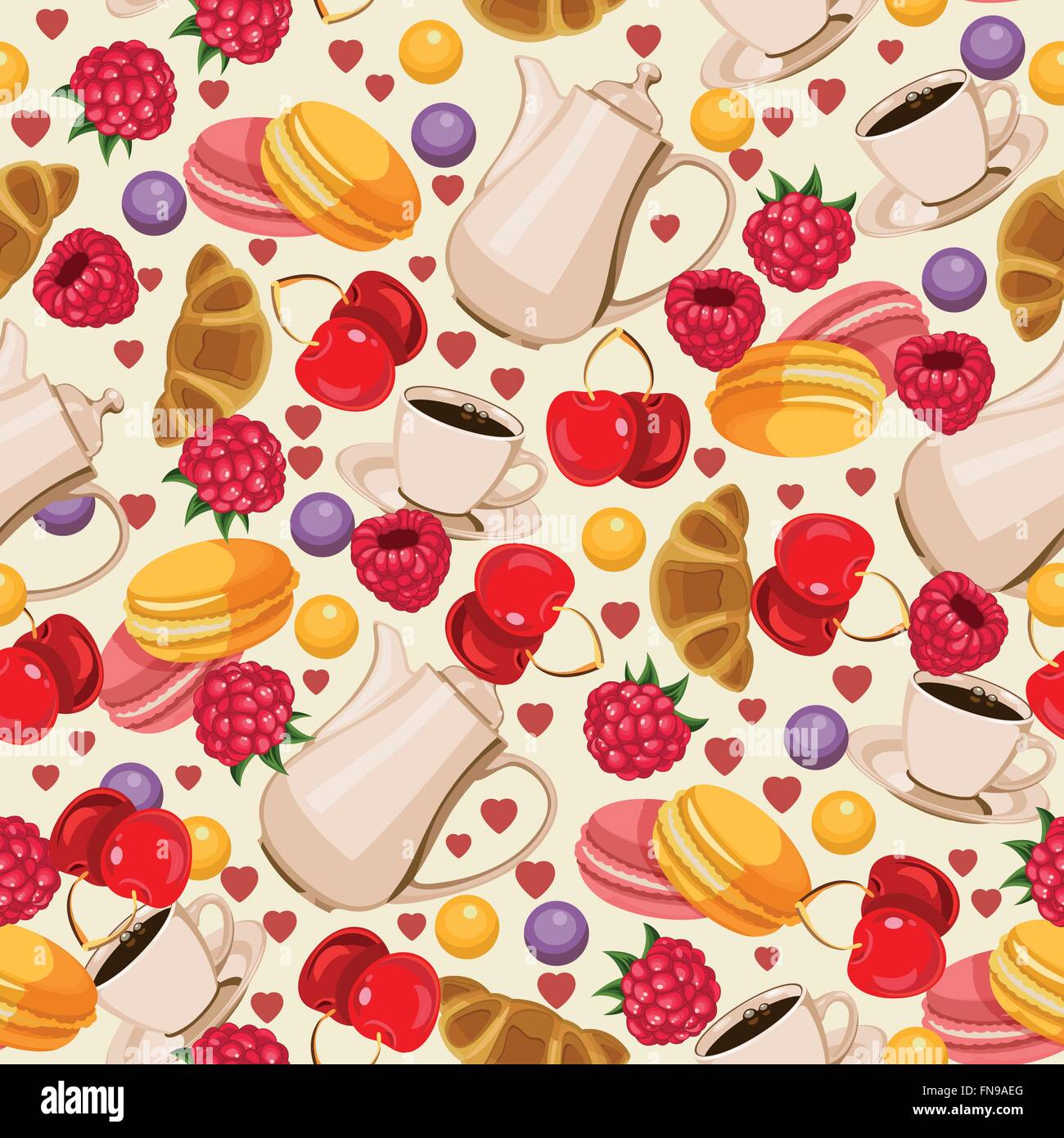 Seamless Pattern In French Style With Food Background For Menu