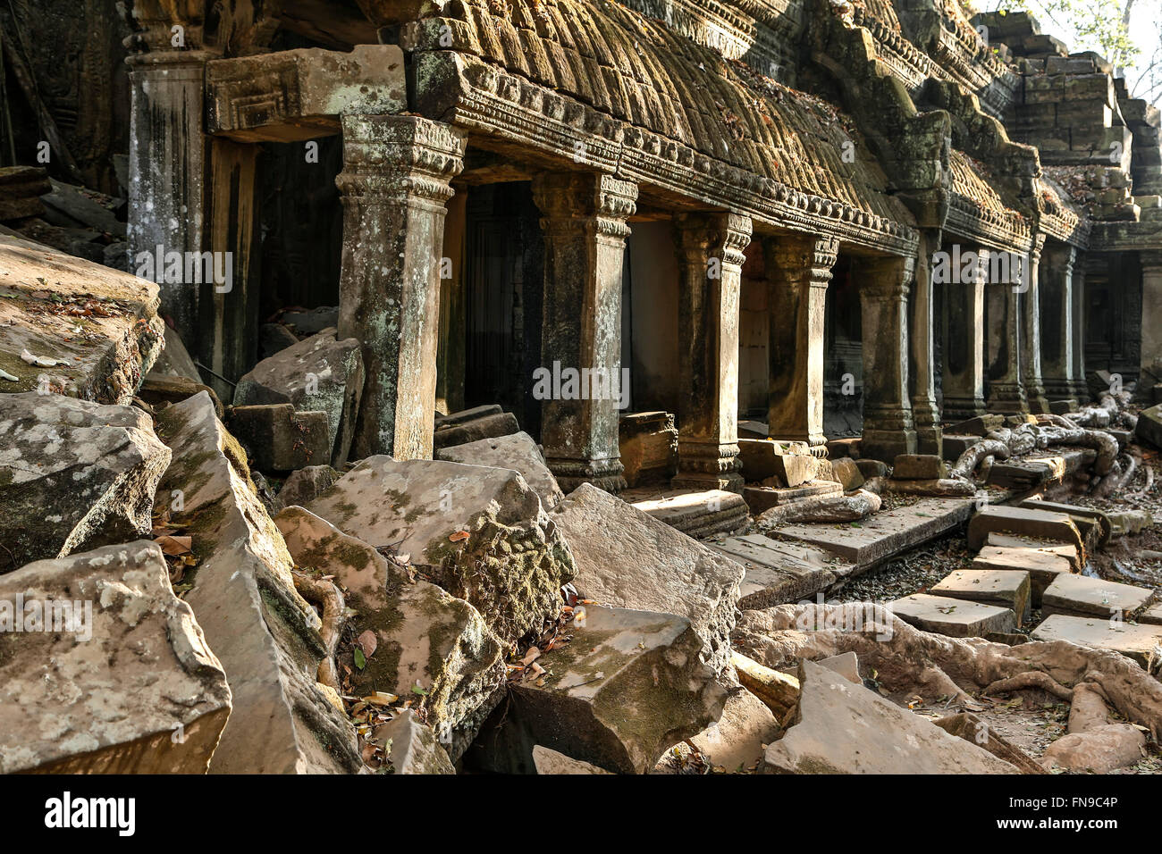 Building and fallen masonry, Ta Prohm Temple, Angkor Archaeological Park, Siem Reap, Cambodia - Stock Image