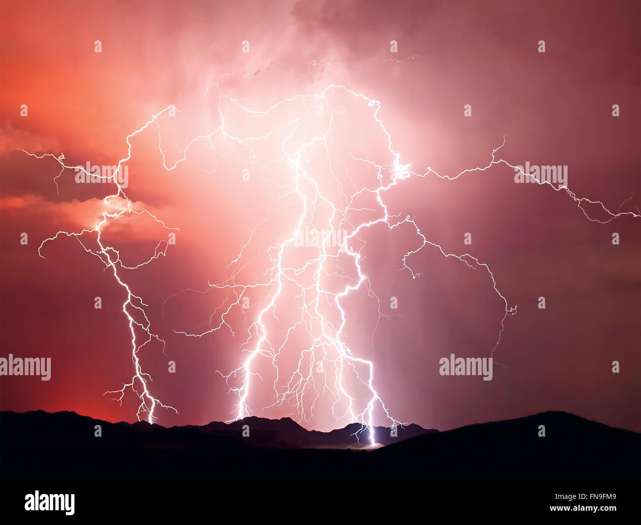 Lightning storm, Arizona, United States Stock Photo