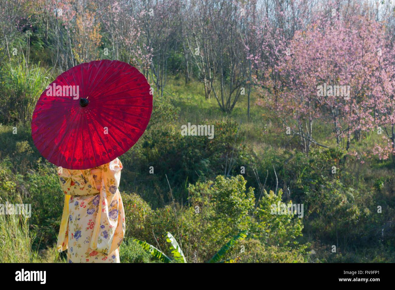 Woman wearing kimono with red umbrella Stock Photo