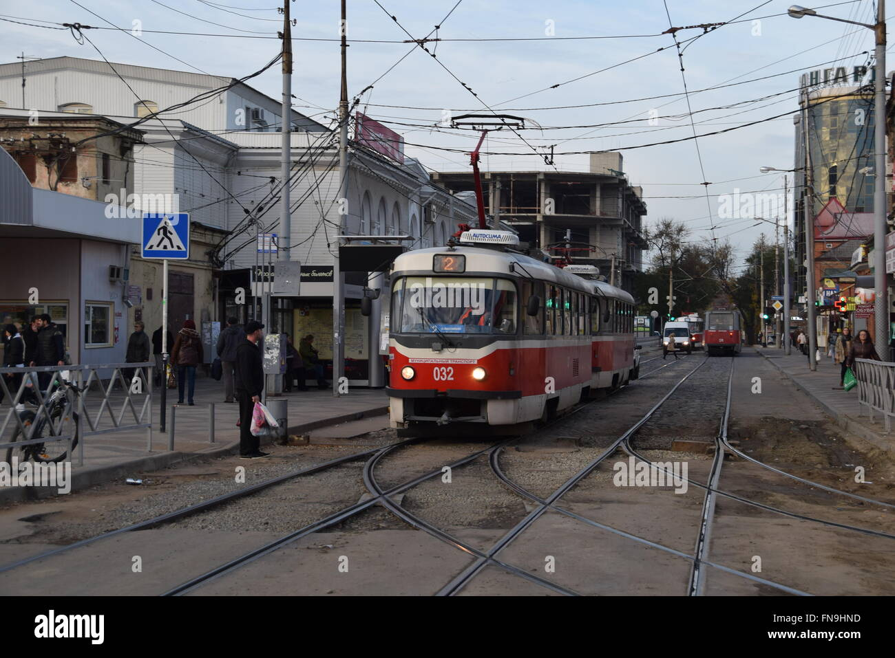 Krasnodar Tramway Central Streets Mixed Running Routes Stock Photo Alamy