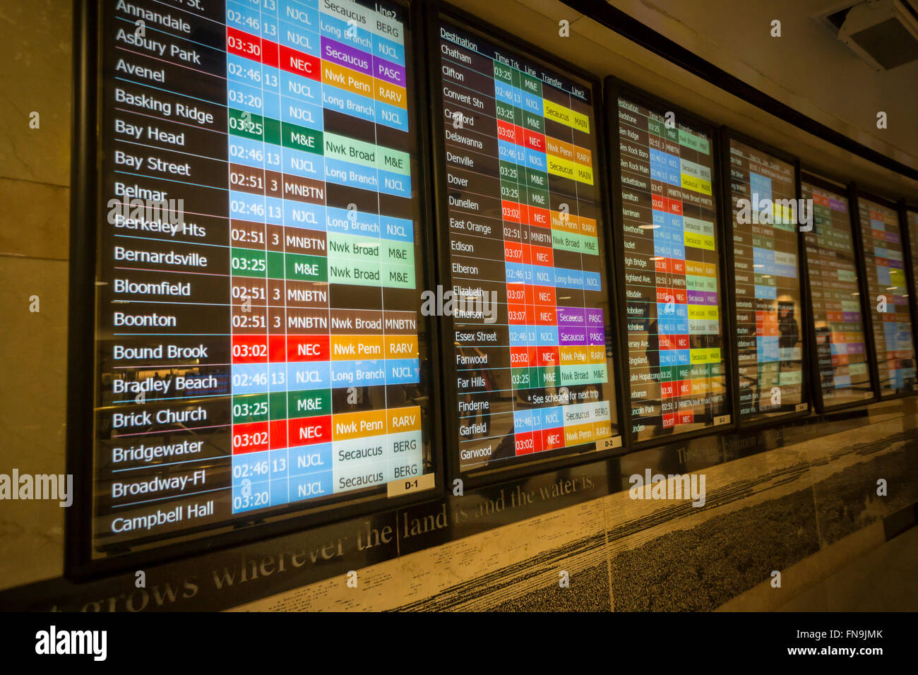 the train schedule in the nj transit station in penn station in new