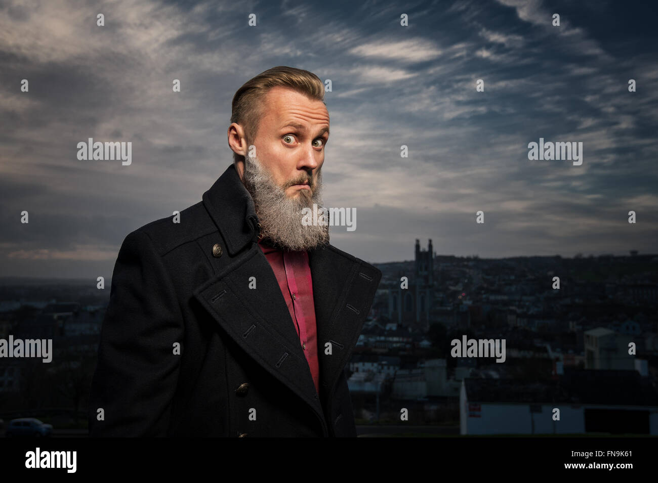 Hipster man making funny face Stock Photo
